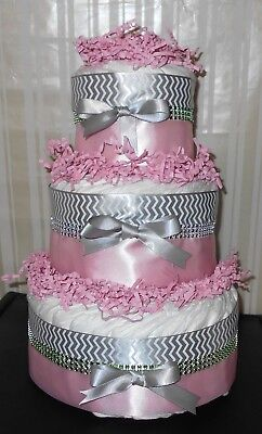 3 Tier Silver & Pink Diaper Cake Centerpiece Gift Custom Orders Welcomed