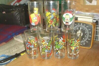 7 Collectable Vintage 90s Nutella Mixed Allsorts Drinking Glasses -Simpsons etc.