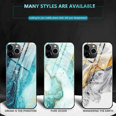 For iPhone 11 Pro Max XS XR 8 7+ Abstract Marble Tempered Glass Case Full Cover