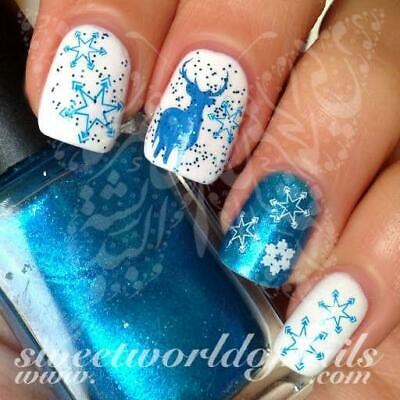 Christmas Nail Art blue and white snowflakes Blue reindeer Water Decals
