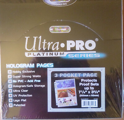 ULTRA PRO PLATINUM 3 Pocket BANKNOTE PAGES SLEEVES Box of 100 Sheets Acid Free