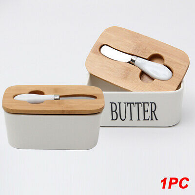 Nordic Style Sealing Butter Box With Wood Lid Storage Tray Dish Container Keeper