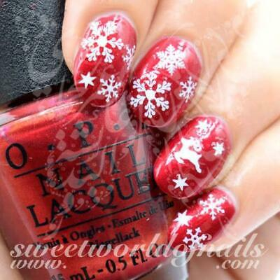 Christmas Nail Art White Snowflakes and Reindeers Nail Water Decal