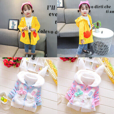 Toddler Kids Baby Girls Fleece Warm Duck Thick Rabbit Ears Hooded Coat Outwear