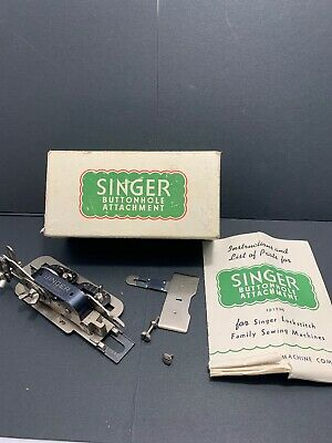Vintage Singer Sewing Machine Buttonhole Attachment USA 121795 Box Instructions