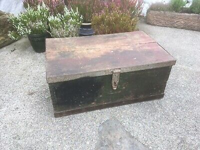 Vintage Trunk Chest Box Storage Rustic Vintage Painted Pine Workmans Box