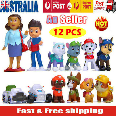 12pcs Paw Patrol Toys Puppy Rescue Action Figure Doll Kids Toy Gift Cake Topper