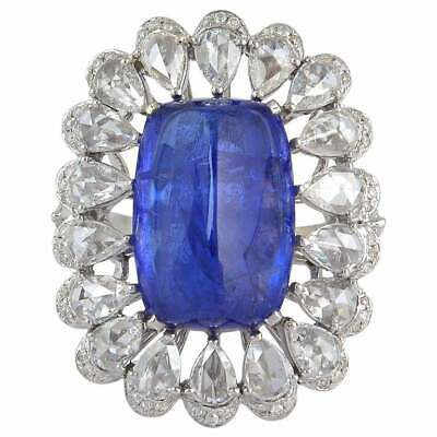 Stunning Blue 15.21CT Tanzanite With Pear & Round Shape Cubic Zirconia Fine Ring