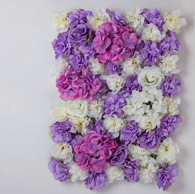 10xPURPLE ARTIFICIAL FLOWER ROSE WALL PANEL WEDDING BACKGROUND 60x40cm