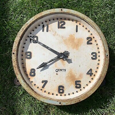 Vintage Industrial Cast Iron Gents of Leicester Wall Clock
