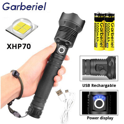 500000 Lumens Zoomable XHP70 USB Rechargeable LED Flashlight Torch Super Bright