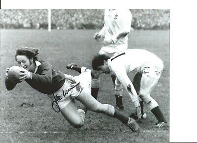 Rugby Union Autograph JPR Williams Wales Signed 10x8 inch B&W Photograph JM300