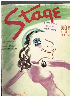 December 1936 Stage Magazine with color cover by A. Burnbaum of Fannie Brice
