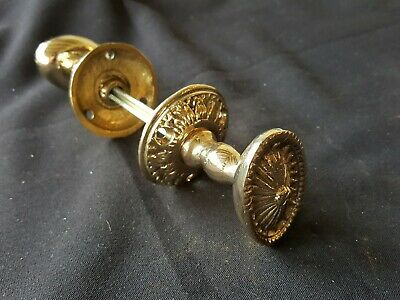 Antique Victorian Pair of Brass Door Knobs Handles Furniture (EH343)