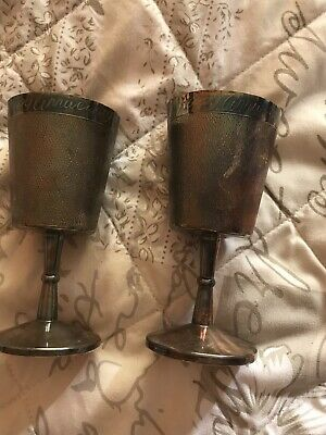 Set Of 2 Antique Silver Plate Wine Glass Cup Goblets  Anniversary