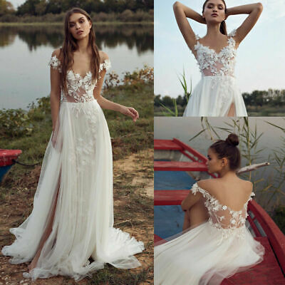 Boho Wedding Dresses Bohemian White Ivory Bridal Gowns Pearl Lace Chiffon Custom