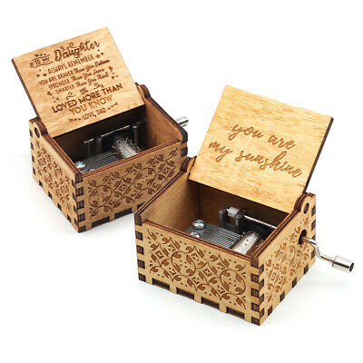 US Music Box Wooden Engraved Queen Love Mom Dad Kids Gift Christmas Present/*-