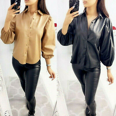Women's Faux Leather Shirt Ladies Bell Cuff Sleeve Button Up Collared Blouse Top