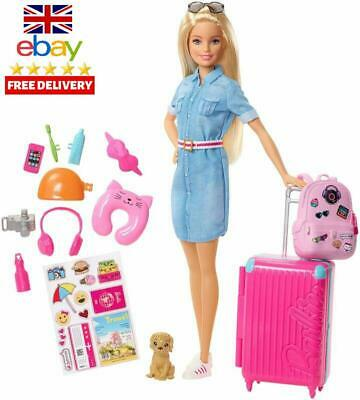 Barbie Fwv25 Doll And Travel Set With Puppy, Luggage And 10+ Accessories, Multic