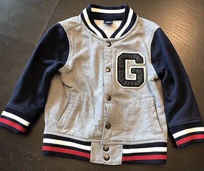 Baby Gap Toddler Boys 2T Varsity Style G Hip-Hop Jacket Sweatshirt Coat Navy
