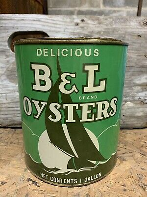 Vintage Gallon B & L Brand Chesapeake & Tangier Oyster Tin Can ~ Bivalve Md