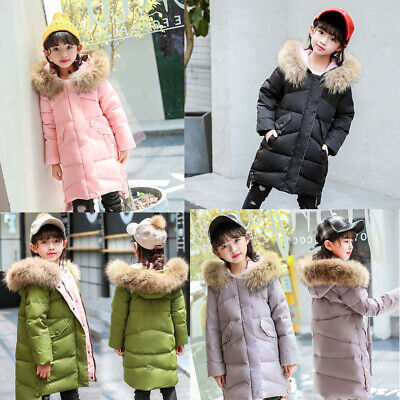 Winter Kids Girls Faux Fur Hooded Parka Down Coat Puffer Jacket Padded Overcoat