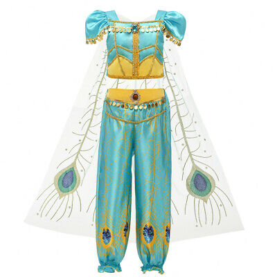 Kids Girls Cosplay Princess Sequin Crop Tulle Tops Tassel Pants Party Outfits UK