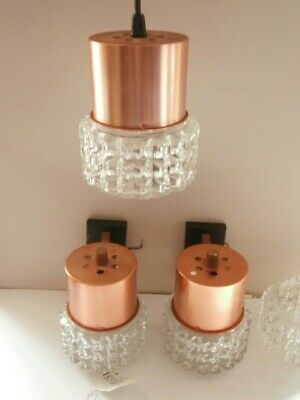 Vintage Light Fittings 2 x WALL LIGHTS 1 x CEILING LIGHT Copper Glass Industrial