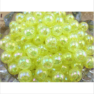 10pcs yellow Crackle resin Round 12mm Beads Jewelry Findings Craft Bead Supply