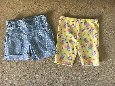 Girls Age 3-4 Yrs Shorts X2 Peppa Pig And Spotty