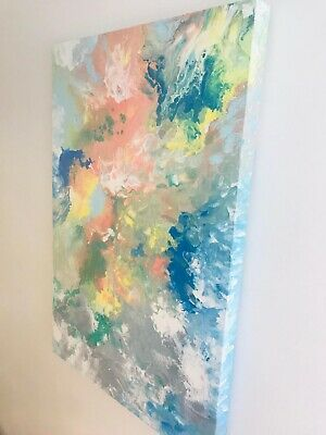Original Fluid Acrylic Pour Abstract Art Painting on Canvas