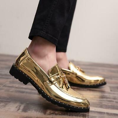 2019 Mens British Patent Leather Tassels Shoes Formal Business Wedding Point Toe