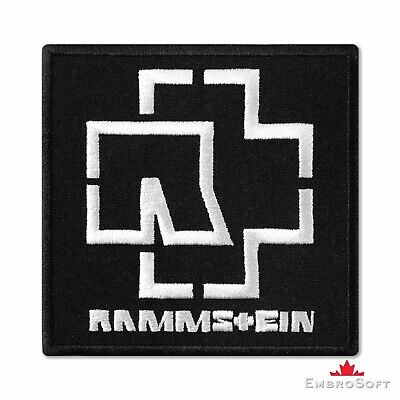 """Rammstein Logo Black and White Music Rock Band Embroidered Patch Iron 3.6""""x3.6"""""""