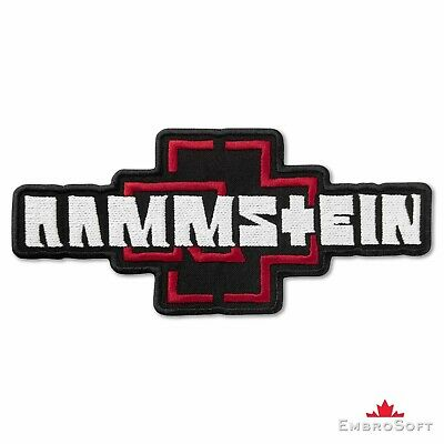"""Rammstein Logo Red and White Music Rock Band Embroidered Patch Iron On 6.8""""x3.1"""""""