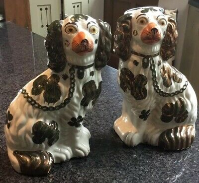 Antique Pair c19th Staffordshire Dogs, Flatback Copper Lustre Glaze, 9.5""