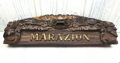Vintage carved MARAZION Balinese name plaque from Indonesia, wooden carving