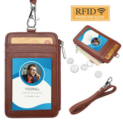 ID Badge Holder w/ Neck Lanyard Double Sided PU Leather Wallet Card Slots Brown