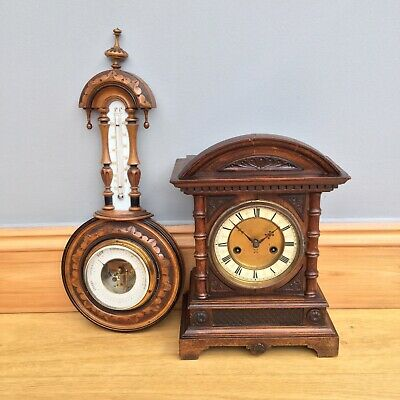 Antique Victorian German HAC 14 Day Strike Mantel Clock & Barometer Spare Repair