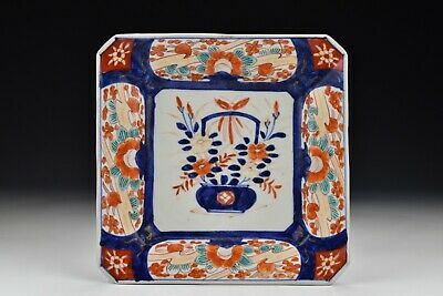Japanese Meiji Period Imari Porcelain Square Form Dish with Flowers