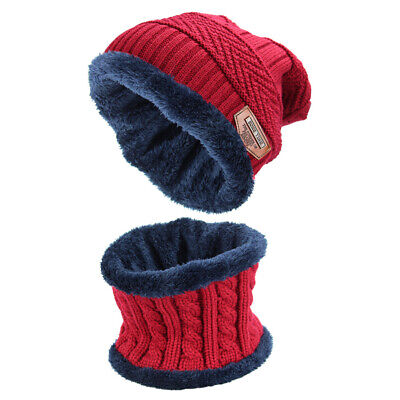 2-in-1 Men's Beanie Hat Scarf Set Warm Knitted Skull Cap with Scarf Wine red