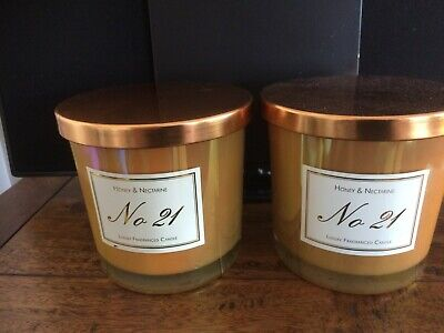 ALDI No21 HONEY & NECTARINE LUXURY 2 WICK CANDLE  X2 DUO OFFER LATEST RELEASE