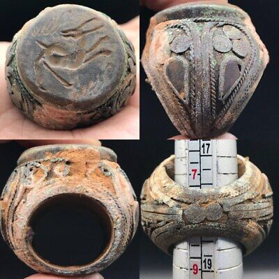 Unique Rare Old Medieval Intaglio Encarved Bronze Seal Ring  #Sa82