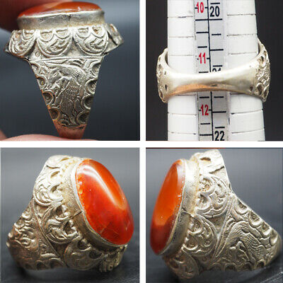 Unique Rare Medieval Silver Ring With Deer Design On side #Sai113