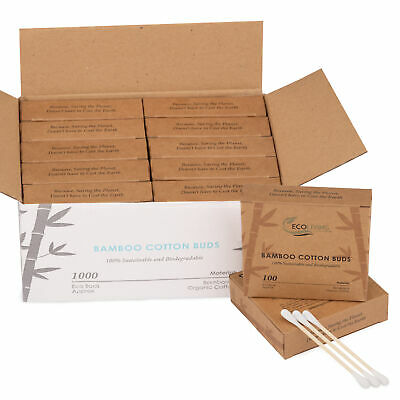 Bamboo Cotton Buds – Biodegradable – Wooden Cotton Swabs -  100% PLASTIC FREE