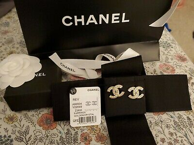 Authentic NEW W TAGS 2019 CHANEL CC Logo  Stud Earrings Gold tone