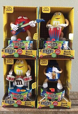 M & M Candy Musical Rock Star SET Yellow, Blue & Red Plays Music & Dances! New!
