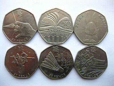 London Olympic 2012 Fifty 50p Coins Circulated Badminton Cycling Athletics
