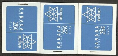 Stamps Canada # BK 55, 1¢, 1967, 3 booklet MNH stamps.