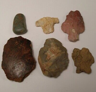 Lot of Native American Indian Artifact Stone Tools Arrowheads Pottery Shards D8