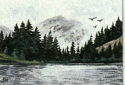 "aceo original acrylic painting ""Mountain Shrouded in Fog"" by J. Hutson"